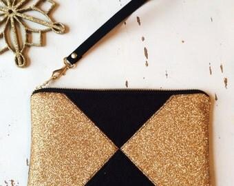Vegan Purse Faux Leather Bag Black Evening Bag Gold Wristlet Wallet Gold Clutch Gift for Bride Bag