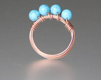 Copper turquoise ring Bridesmaids gifts Free US Shipping handmade anni designs