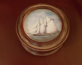 Trinket box painted sailing ship