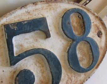 Antique French original cast iron number wall, door plaque 58.