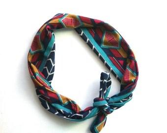 Baby Turban Headband in Fall Geometric Print