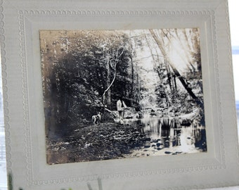 Antique Photograph Cabinet Card Man and Dog Fishing 5.75 x 4.75 Inches