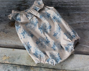 SALE - NEWBORN Romper - Baby Shower Gift - 100% Cotton Blue Floral - newborn outfit, photography - Ready to Ship