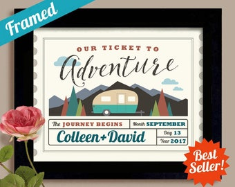 Wedding Ticket Happy Camper Adventure Awaits Wedding Gift Travel Trailer Mobile Home RV Decor Camping Nature Lovers Mountain Art Motor Home