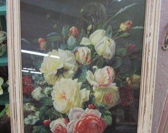 Vintage Shabby Pink Roses Print Framed Primitive Prairie Gypsy Farmhouse