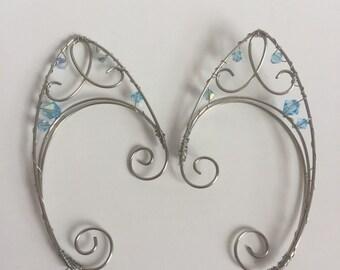 Wire Elfin/ Fairy Ear Cuffs - pointy ear cuffs. Silver and blue, light blue, Fairy jewelry, blue fairy