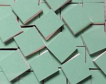 Mosaic Tiles GREEN AQUA squares handcut