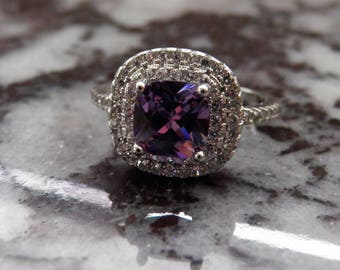 Man Made Diamond and Amithyst Ring.