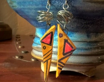 Thelonious - Handmade ceramic and sterling silver earrings - 2""