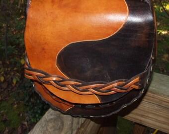 Handmade Hippie Leather Shoulder Crossbody Bag w/ Braided Strap 1063