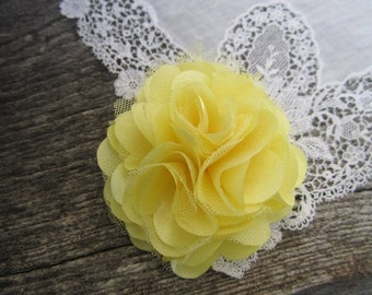 Sale Light Yellow Satin and Tulle Flower. 1 pc. GISELLE Collection.