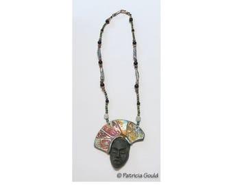 N5 - Handmade - Raku mask and pearl necklace - One of a kind