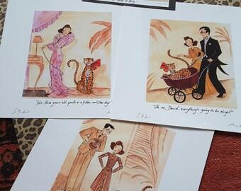 "Set of 3, Bringing Up Baby, Epson Matte, 8""x8"", Art Prints...."