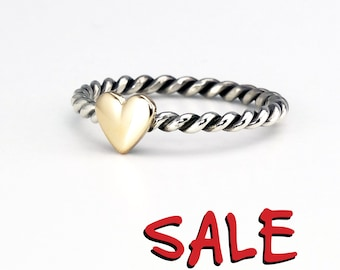 SALE Gold Heart Ring Stacking Ring Spiral Heart Ring - Sterling Silver (925) and 9ct Yellow Gold