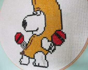 Brian Griffin Banana Suit Completed Cross Stitch