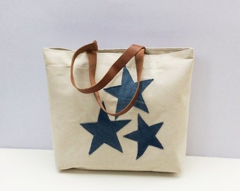 Oversized canvas tote bag with brown leather straps hand  applique with denim stars, everyday bag,  shoppers bag, unique,chic