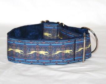 "2"" Martingale Dog Collar Running Greyhounds - Paisley Stripe - Blue Multi"