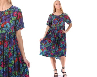 GRUNGE Sundress 90s Floral Midi Sun Dress 1990s Boho Cotton Gauze Muslin Gipsy Summer Festival Tent Sun Blue Dress Oversized Medium to Large