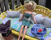 Barbie Doll House Party PATIO Sofa VIGNETTE Room Furniture & Accessories Wicker  Deck Flowers