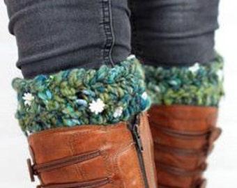 Daisy Leg Warmers - Boot Cuffs Made From Handspun Organic Art Yarn