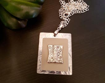 Beige and Silver Tone Necklace Made from Recycled Metal