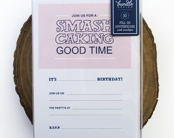 Smash Caking First Birthday Fill-In Invitations