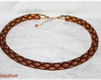 Ombre brown geometric bead crochet necklace rhombus pattern  handmade