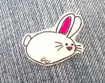 White Bunny Brooch Ooak Jewelry Cute Easter Pin