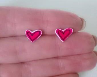 Cute Red Heart Earrings Ooak Jewelry Studs Girl Teen Valentine Love