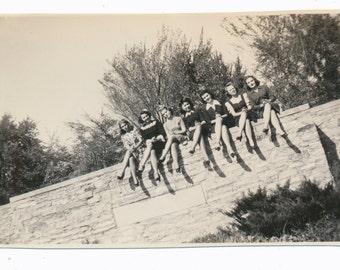 Chorus Line of LEGS Girls Club 1940s womens fashion Social Realism Photography modern vernacular photos snapshot group portrait