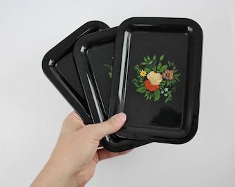 Vintage Mid Century Serving Tray Set - Black Metal Flower Serving Trays - Miniature Hand Painted Metal Serving Trays