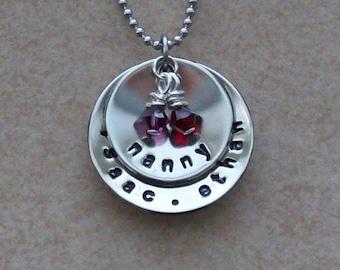 "Nanny mom grandma custom family pendant necklace, nanny pendant, nickel silver, Swarovski ""birth month"" crystals on your choice of chains."