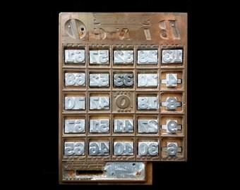 Vintage Letterpress BINGO Card Copper Printing Block w 24 Interchangeable Metal Numbers