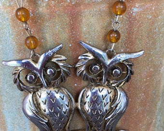Upcycled We Both Give A Hoot Twin Owl Statement Necklace 2025