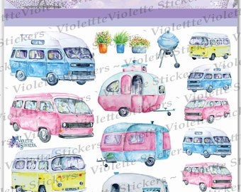 Violette Planner Stickers -Camper Vans Stickers for Crafting-2 sheets