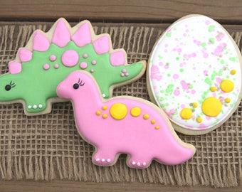 Dinosaur Cookies // Dinosaur Party Favors // Dinosaur Sugar Cookies // Girl Dinosaurs // Dinosaurs for Girls // Girl Dinosaur Party Favors