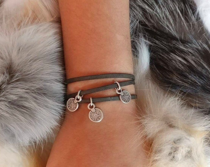 Leather bracelet with charm,wrap bracelet with coin ,women charm bracelet,Wrap Bracelet,Boho bracelet, Hippie Chic bracelet ,Adjustable wrap