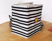 Rosebuds & Stripes TEA BAG WALLET Black, White and Pink Double Buttons Elastic Closure