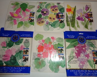 6 Plaid Decorator Block Stamp Kits of lovely flowers and their leaves in Very Good Condition, 4 which have never been used and 2 that have