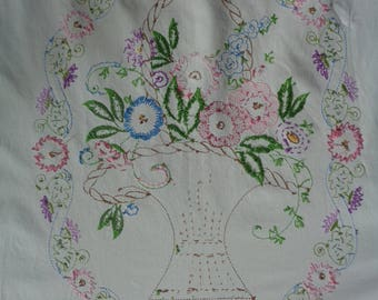 Vintage Hand Embroidered White Cotton Muslin Twin Bed Cover in Vintage Condition with worn, well used, rustic appeal.  Very Shabby Chic