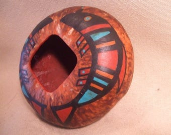 Gourd bowl Handpainted signed and dated