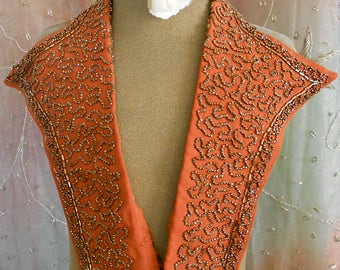 1940's Coppery Brown Beaded Collar Insert