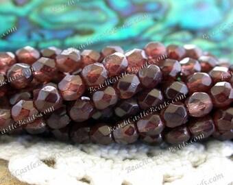 4mm Czech Glass Fire Polished Beads, Coated Opaque Coffee Czech Glass Beads, Faceted Glass Beads, 4mm Firepolished   CZ-252