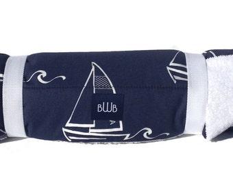 Dog Bed - Navy Sailboats Dog Travel Bed Roll