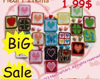 BiG Sale Coasters, Crochet Hearts.( PDF only )