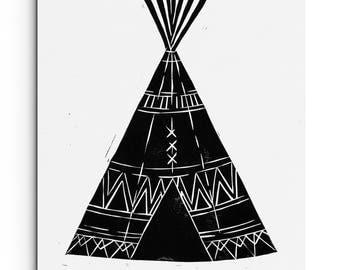 Tee Pee with Fun Tribal Patterns - Baby Nursery - Kids Room - Wall Art - Linocut Block Print - Original or Digital Print