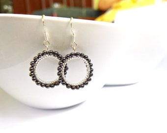 Small Hoop Earrings, Gunmetal Bead Earrings, Beaded Dangle Earrings, UK Jewellery