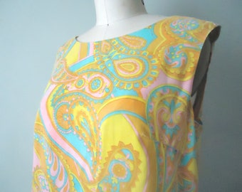 Vintage Paisley Dress, Retro Shift, Pucci Style, Psychedelic Fringed Summer Frock, Yellow Paisley Shift, Boho Hippie Chic, Lord and Taylor