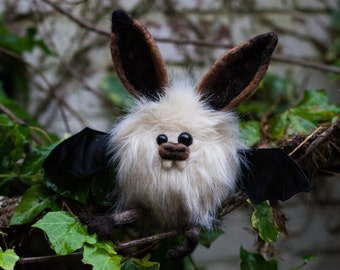 ZURIE- Snow Bat, OOAK Bat Soft Sculpture, Fibre Art, Plush