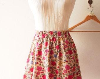 "Floral Skirt Vintage Inspired Brown Floral Skirt Skater Midi Mid Rustic Wedding Dancing Summer Time Skirt  -Free Size Waist 26""-29"""